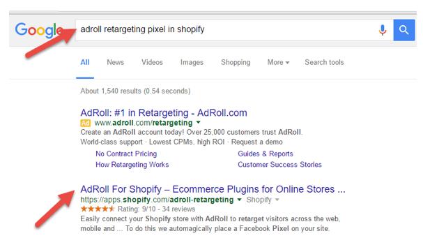 AdRoll retargeting pixel