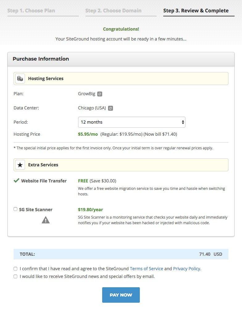 buy SiteGround hosting