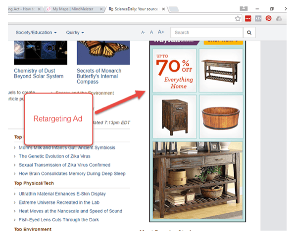 retargeting ad Wayfair.com